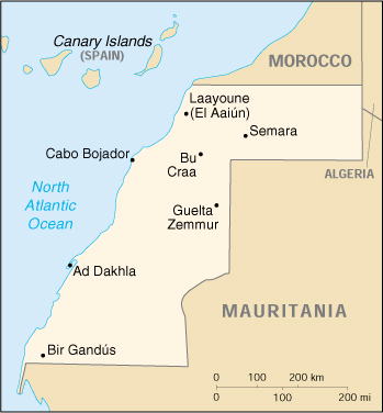 [Country map of Western Sahara]