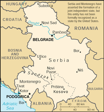 [Country map of Serbia and Montenegro]