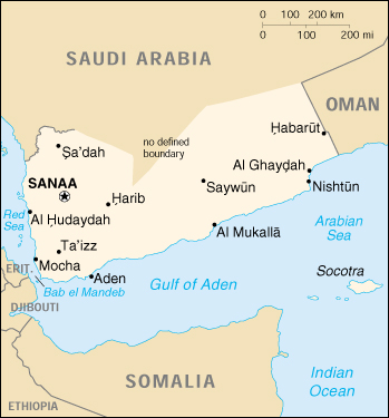 [Country map of Yemen]
