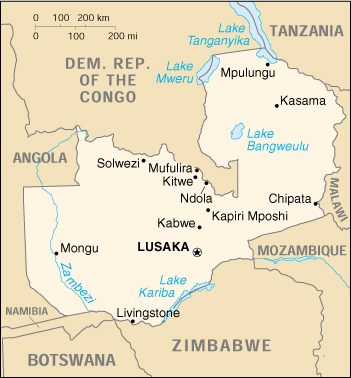 [Country map of Zambia]